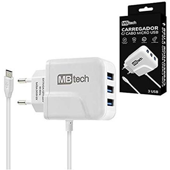 CARREGADOR USB V8 3U 2A