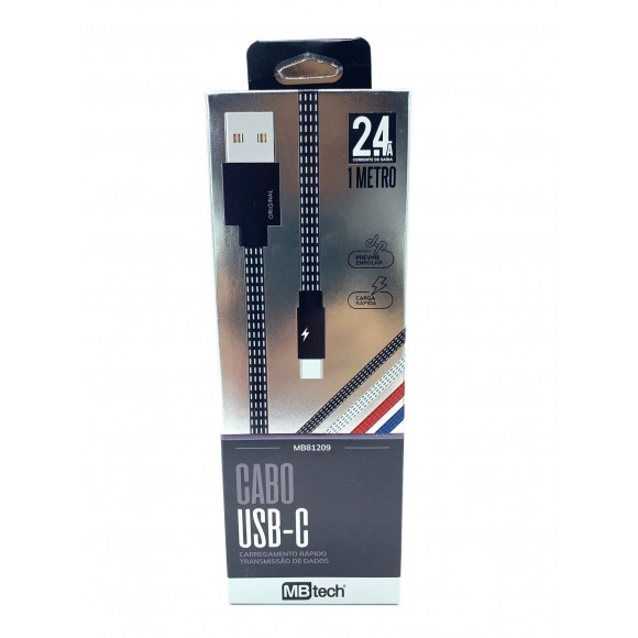 CABO USB TIPO C 1M 2.4A