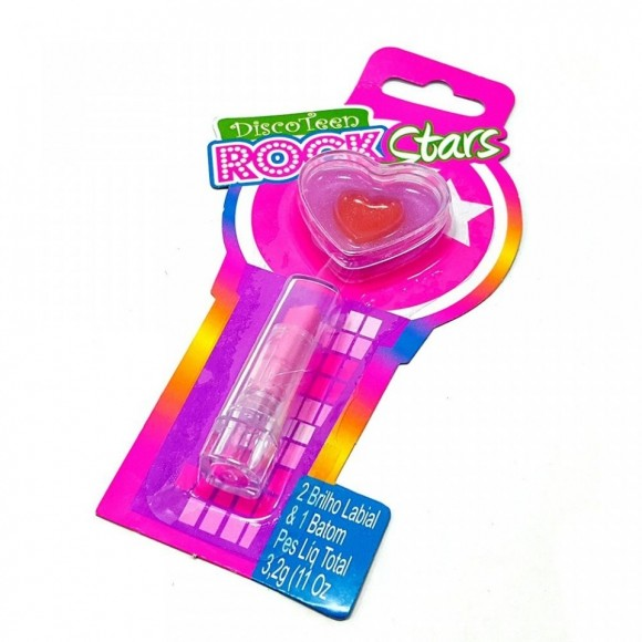KIT BATOM E BRILHO LABIAL INFANTIL DISCO TEEN