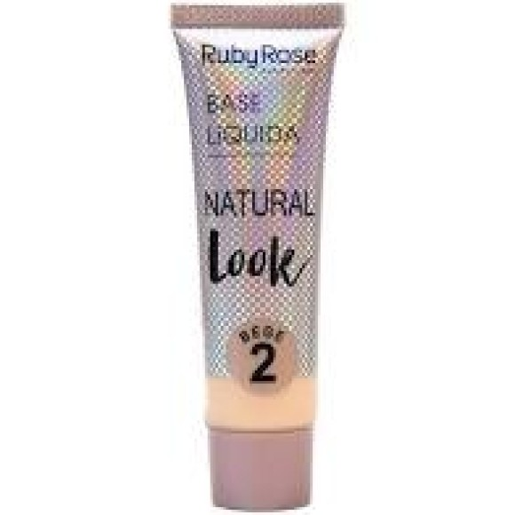 BASE LIQUIDA NATURAL LOOK 29ML BEGE/CAFÉ RUBY ROSE